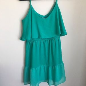 Two tier teal dress